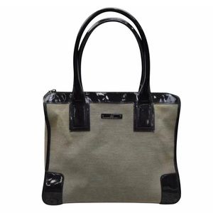 Gucci Linen Patent Structured HandTote Purse Bag